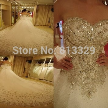 New Luxury wedding dress with crystal stones 2015 Ball gown sweetheart lace organza wedding gowns