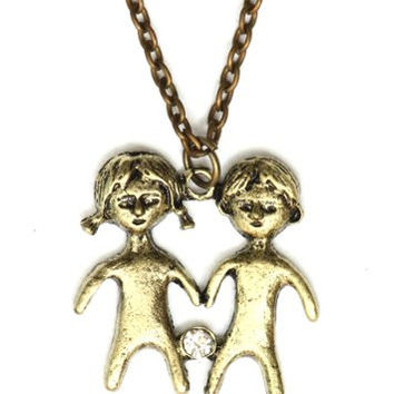 Gemini Necklace Antique Zodiac Sign NG29 Crystal Twins Gold Tone Pendant Astrology Charm Horoscope