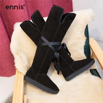 ENNIS 2017 Flat Knee High Snow Boots Women Winter Real Fur Boots Platform Suede Genuine Leather Tall Boots Black Warm Shoes L752