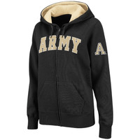Women's Army Black Knights Black Classic Arch Logo Full Zip Hooded Sweatshirt