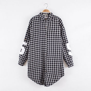 Red Women Boyfriend BF Style Monogrammed Plaid Long Sleeves Long Oversized Loose Shirt W  Back Letter   Numbers Print SM6
