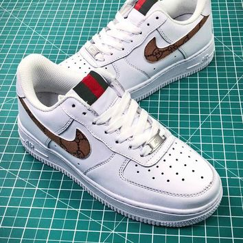 PEAP2Q Supreme X Gucci X Nike Air Force 1 Af1 Low Sport Shoes