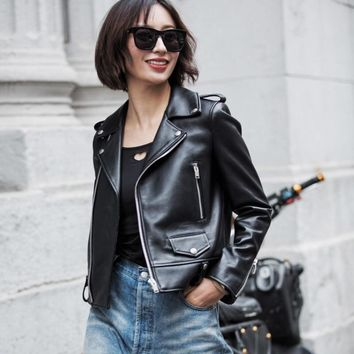 Spring Genuine Leather Jacket Women 2017 Fashion Real Sheepskin Coat Rivet Motorcycle Biker Jacket Female Sheep Leather Coat