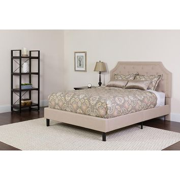 Brighton Full Size Tufted Upholstered Platform Bed in Beige Fabric with Pocket Spring Mattress [SL-BM-2-GG]