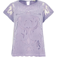River Island Womens Purple short sleeve lace t-shirt