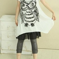 Abstract Owl Print 2 Pieces Oversize T-shirt  ONST436 from topsales