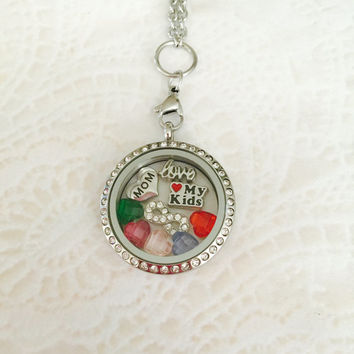 Mom memory locket large stainless steel with choice of change size