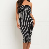 Michelle Striped Dress - Black