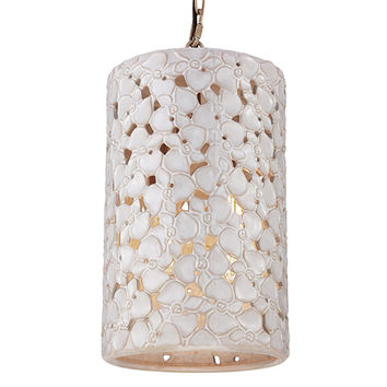 Feiss F2951/4WTPC/BD Azalia White Taupe Ceramic and Beach Wood Four-Light Large Pendant