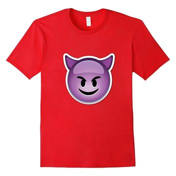 Purple Devil Smiley Emoticon T-Shirt with Horns Emoji Evil