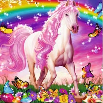 5D Diamond Painting Pink Maned Horse and Butterflies Kit