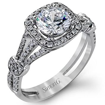 Simon G. Halo Split Shank Diamond Engagement Ring