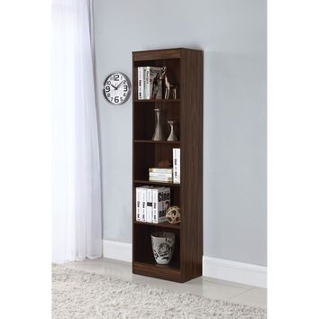 5 Shelf Narrow Transitional Bookcase, Brown