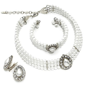 Heirloom Vibe 3 Pcs White Strand Pearl Silver Clip on Earrings Choker Crystal Necklace Bracelet Set