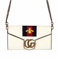 GUCCI Women Shopping Leather Metal Chain Crossbody Satchel Shoulder Bag