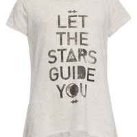 Full Tilt Stars Hachi Knit Girls Sharkbite Tee Cream  In Sizes