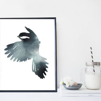 Black bird art print in watercolor, home wall decor, apartment wall art, modern minimal poster, simple illustration, gift, animal painting
