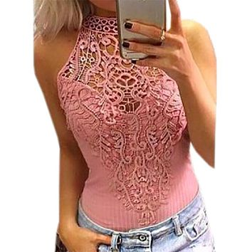 Sexy Lace Patchwork Crochet Bodysuits 2017 Summer Women Body Top Solid Bodycon Bodysuit Hollow Out Overalls Sexy Clubwear GV777