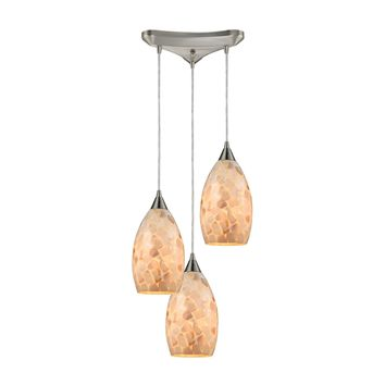 10443/3 Capri 3 Light Pendant In Satin Nickel And Capiz Shell - Free Shipping!
