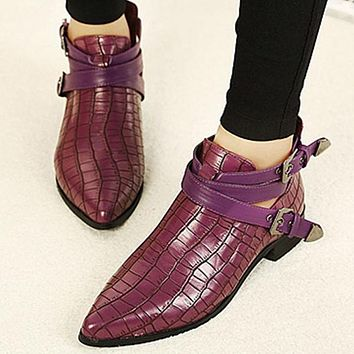 Buckle Leather Fashion Women Martin Boots Low Heels Shoes