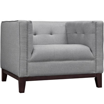 Modway Serve Armchair in Tufted Light Gray Fabric on Walnut Finish Legs