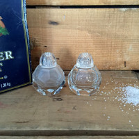 Vintage Glass Salt and Pepper Shakers, Small Salt and Pepper Shakers