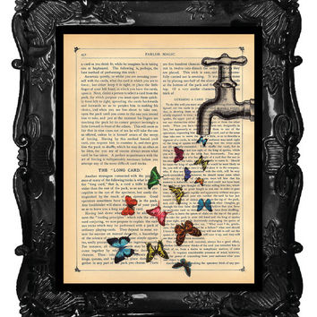 OUR ORIGINAL DESIGN Vintage Dictionary Print Industrial Faucet with Butterflies soft as a pillow spring water butterflies art print