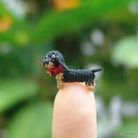 0.4 inch miniature black Dachshund dog - Micro amigurumi crochet animal