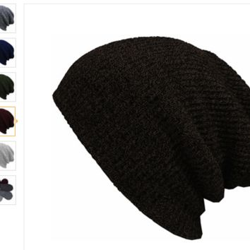 Winter Casual Cotton Knit Hats For Women Men Baggy Beanie Crochet Slouchy Oversized ( FREE SHIPPING )