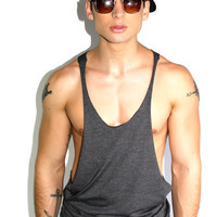 Core String Tank-Dark Charcoal
