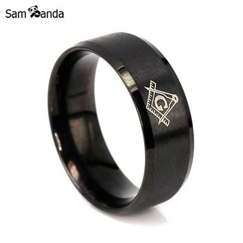 Vintage 316L Titanium Stainless Steel Men Ring Free Mason Freemasonry Masonic Male Retro Punk Black Brand Ring Jewelry sa7014