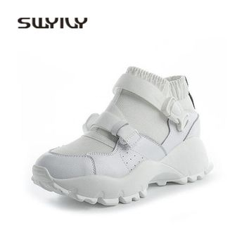 SWYIVY Women Casual Shoes Genuine Leather 2018 Sneakers Woman Really Leather Hided Increased Wedge Heel Female Sock Sneakers