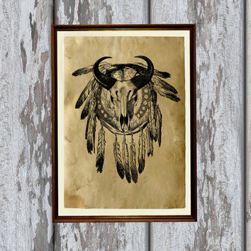 Native American poster Tribal art print Animal skull illustration 8.3 x 11.7 inches