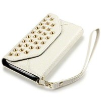 Samsung Galaxy S4 i9500 Trendy Studded Rock Chic Purse Style Wallet Case - White By Covert