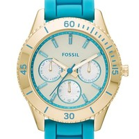 Fossil 'Stella' Multifunction Silicone Strap Watch, 37mm