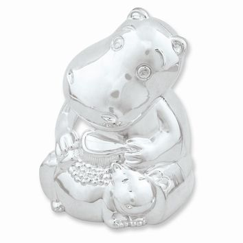 Hippo & Baby Silver-plated Polished Metal Bank