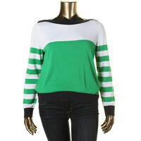 MICHAEL Michael Kors Womens Knit Striped Pullover Sweater