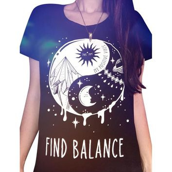 Find Balance Taiji Yinyang Sun Moon Printed Women Black T-Shirt Graphic Tees Short Sleeve Round Neck Tops Summer Fashion Shirts