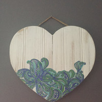 Lilly Pulitzer Inspired Weathered Wooden Panel Heart