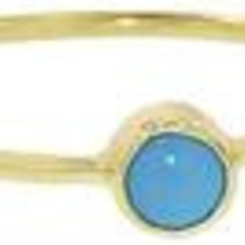 18 Karat Yellow Gold Turquoise Stackable Ring