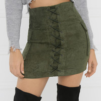 Fool Around Skirt - Olive