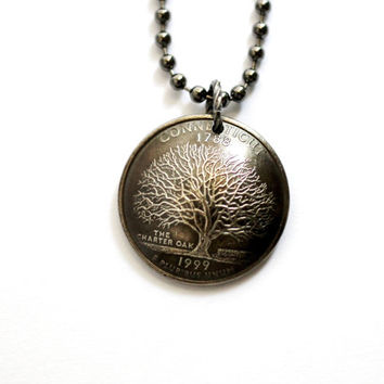 Domed Coin Necklace, Pendant, Connecticut State Quarter, Charter Oak Tree, 1999, Handmade Jewelry by Hendywood