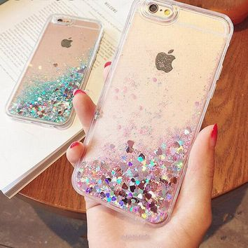 Apple Iphone Case - Love Hearts Stars Glitter Transparent TPU Liquid Soft Cover