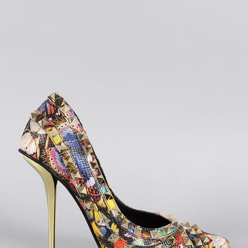 Privileged Butterfly Studded Pointy Toe Pump