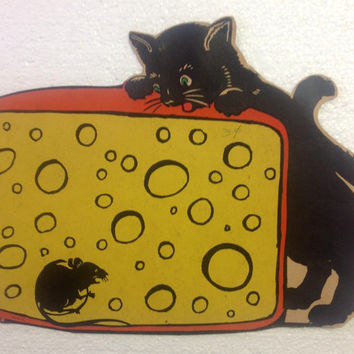 1950s Black Cat Mouse Cheese Halloween Beistle Die Cut Decoration - NOS
