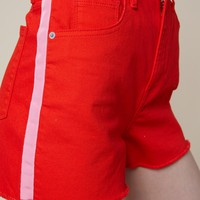 Side Stripe Red Denim Short