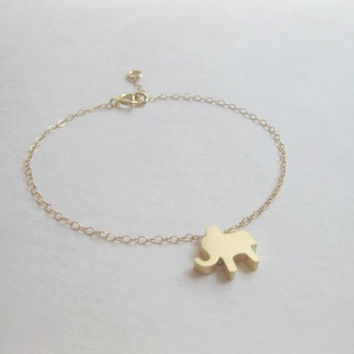 Lucky symbol elephant bracelet, 14k gold filled, cute and lovely bracelet