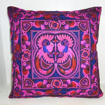 Magenta Cushion Cover Pink Pillow HMONG Hill Tribe Thailand FAIR Trade Handmade (CS011-PIB)