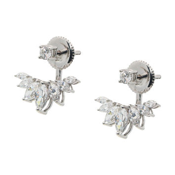 Silver Rhodium Plated Two Parts Cz Marquis Leaf Earrings