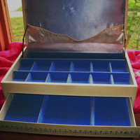 Amaizing Vintage JEWELRY BOX W 2 Draws Ivory W Golden Accent Blue Velvet Inside